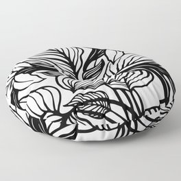 White Black Floral Minimalist Floor Pillow