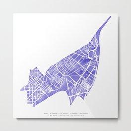 Barcelona map: Sant Andreu (indigo) Metal Print