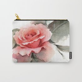 Watercolor Pink Rose Carry-All Pouch