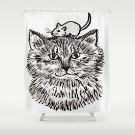 Grey Kitty and a Mouse Shower Curtain