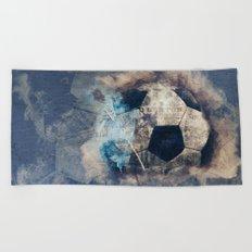 Abstract Grunge Soccer Beach Towel