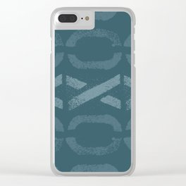 Shapes Of Love - Teal Bold Pattern Clear iPhone Case