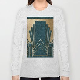 Art Deco glamour - teal and gold Long Sleeve T-shirt