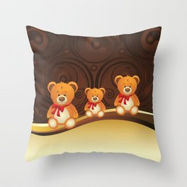 Teddy bear with red bow Throw Pillow