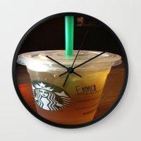 starbucks Wall Clocks featuring Starbucks Emma by Amanda Byrnes