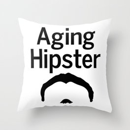 Aging Hipster Throw Pillow