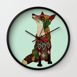 fox love mint Wall Clock