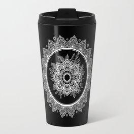 Bohemian Lace Paisley Mandala White on Black Travel Mug