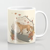 rabbit Mugs featuring Fox and rabbit by Laura Graves