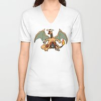charizard V-neck T-shirts featuring Charizard Anatomy by Logan Niblock