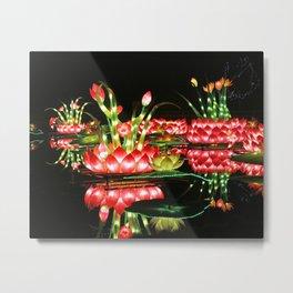 Chinese flower lantern pond at night Metal Print