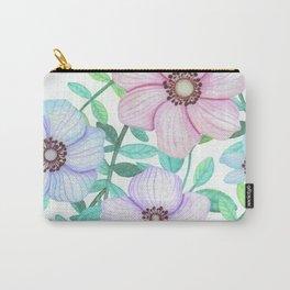 Summer Love Aqua Floral Heart Carry-All Pouch