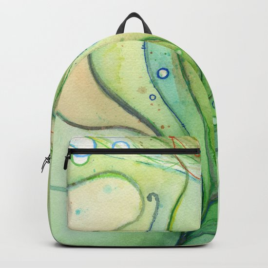 Green Watercolor Peacock Feather and Bubbles Backpack