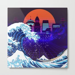 Synthwave Space: The Great Wave off Kanagawa #4 Metal Print