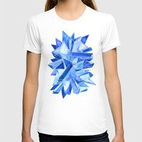 geode T-shirts featuring Sapphire Watercolor Facets by Cat Coquillette