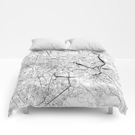 Rome White Map Comforters