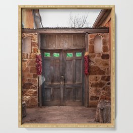 Doorway and Ristras in Lincoln, NM. Serving Tray
