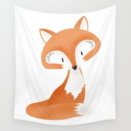 Cute fox kids illustration on white background Wall Tapestry