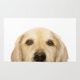 Golden retriever Dog illustration original painting print Rug