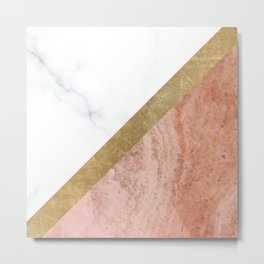 Marble luxe - peaches and cream Metal Print