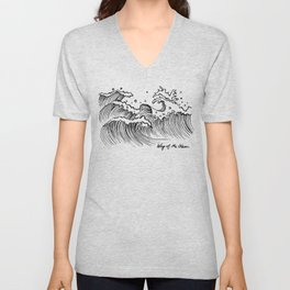 WAY OF THE OCEAN - Waves Print Unisex V-Neck