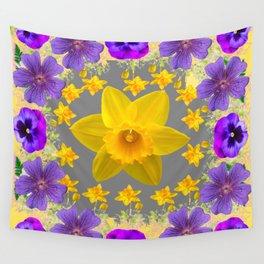SPRING PURPLE  FLOWERS DAFFODIL ART DESIGN Wall Tapestry