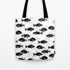 Black and white linocut Fish ocean animal minimal beach decor coastal nautical Tote Bag