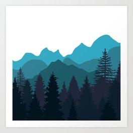 Blue Woods Art Print