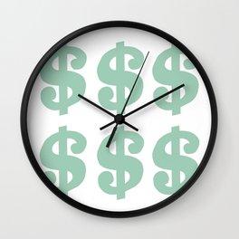 Mint Dollars Wall Clock