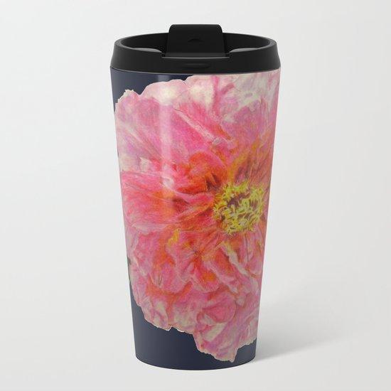 Pink Peony Flower Drawing on Blue Background Metal Travel Mug
