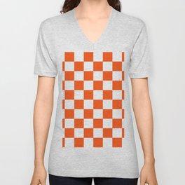 Cheerful Orange Checkerboard Unisex V-Neck
