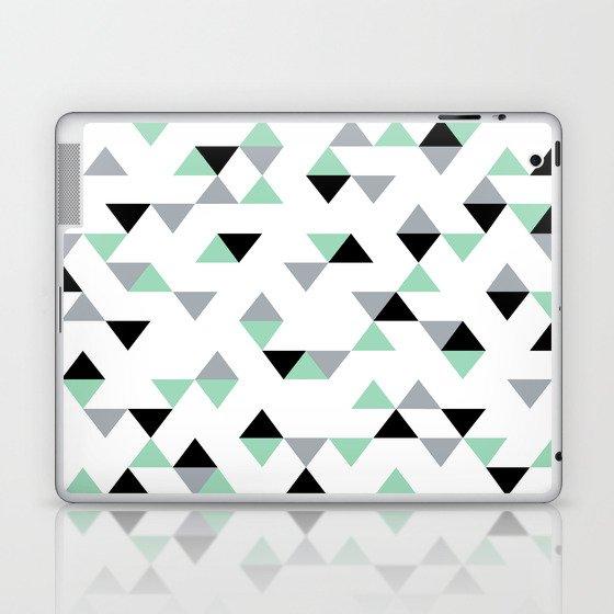 Triangles Mint Grey Laptop & iPad Skin