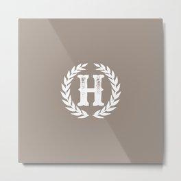 Beige Monogram: Letter H Metal Print