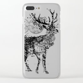 Deer Wanderlust Black and White Clear iPhone Case