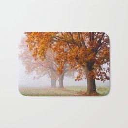 Oaks in the misty Autumn morning (Golden Polish Autumn) Bath Mat