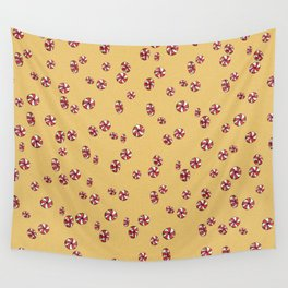 Peppermint Candy in Yellow Wall Tapestry