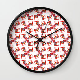 Graphic Elk Moose 02 Swedish Dala Mix Wall Clock