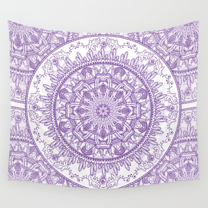 Feathers and Crystals Seen Wall Tapestry