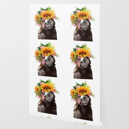Sloth with Sunflower Crown Wallpaper