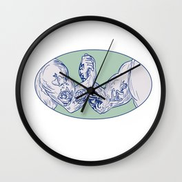 Tattooed Arms Fists Locked in Handshake Drawing Wall Clock