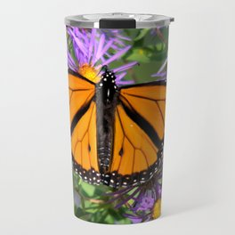 Monarch Butterfly on Wild Asters (square) Travel Mug