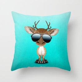 Cute Baby Deer Wearing Sunglasses Throw Pillow