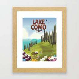 Lake Como Italy travel poster Framed Art Print