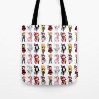 rwby Tote Bags featuring RWBY + JNPR by kamikaze43v3r