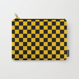 Black and Amber Orange Checkerboard Carry-All Pouch