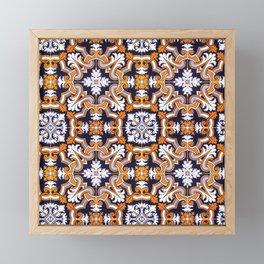Portuguese Tiles Azulejos Blue Orange Pattern Framed Mini Art Print