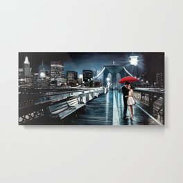 Pierre Benson - Kissing on Brooklyn Bridge Metal Print