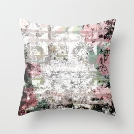 Shabby Chic White Washed Roses Throw Pillow