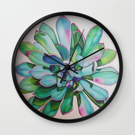 Cacti in pink and blue Echeveria pulidonis Wall Clock