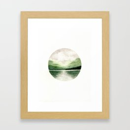 Foggy Mountain Lake Watercolor Landscape | Minimalism Painting | Round Painting Framed Art Print